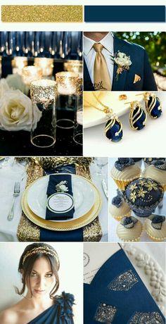 Dark Royal Blue and gold/rose gold
