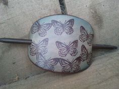 Butterfly Leather Hair Barrette by mandwleather on Etsy, $9.00