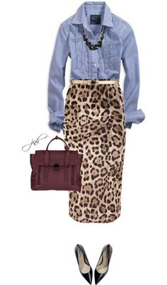 I want this outfit! Cute fall outfit- leopard skirt with denim shirt Style Work, Mode Style, Mode Outfits, Casual Outfits, Skirt Outfits, Office Outfits, Office Wear, J Crew Outfits, Looks Style