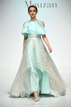 Mauzan - The Best Runway Looks at Dubai Fashion Week 2015 - Photos Indian Gowns Dresses, Indian Fashion Dresses, Indian Designer Outfits, Indian Outfits, Fashion Outfits, Fashion Weeks, Indian Fancy Dress, Dress Indian Style, Lehnga Dress
