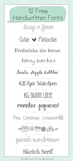 12 Free Handwritten Fonts!  If you don't have these, grab them, they're fantastic! #free #fonts