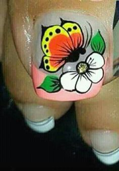 57 Super Ideas For Manicure Francesa Em Bico Gel French Manicure, French Pedicure, Pedicure Designs, Toe Nail Designs, Butterfly Nail, Flower Nail Art, Toe Nail Art, Toe Nails, Crazy Nail Designs