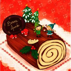 """Valérie Willame carte postale carrée (14cm) """"La bûche de Noël"""""""