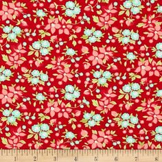 Moda Hello Darling Wildflowers Red from @fabricdotcom  Designed by Bonnie and Camille for Moda, this fabric is perfect for quilting, apparel and home decor accents. Colors include red, pink, coral, green, aqua and cream.