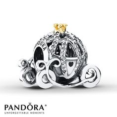 PANDORA Charm Disney, Pumpkin Coach Sterling Silver/14K Gold