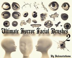 Awesome Ultimate Horror Facial Brushes 2. hi there 23 brushes including: Eyes face warts cuts and much more disturbing stuff This is part TWO be sure to also download part ONE! I split this file into 2 because the file was bigger than 20MB enjoy muhahahahahahahahahaha from HELen Xxx  #brushes #Cuts #eye #face #free #halloween #Horror #mouth #warts Check more at http://psdfinder.com/free-psd/ultimate-horror-facial-brushes-2