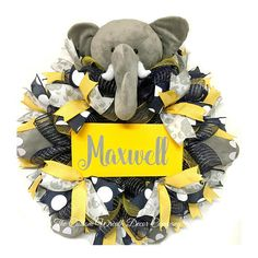This item is unavailable Baby Elephant Nursery, Elephant Shower, Elephant Theme, Grey Elephant, Baby Shower Deco, Baby Shower Themes, Baby Shower Gifts, Wreath Crafts, Wreath Ideas