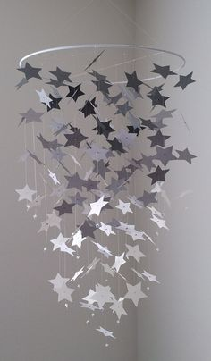 star light star bright  Star mobile  gray and by DragonOnTheFly, $40.00