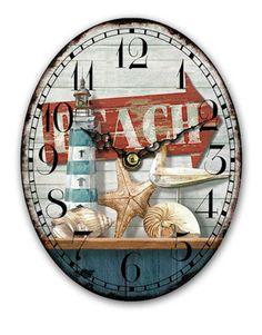 Oval Desk Beach Clock 15x18cm Wooden Nautical Coastal Shabby Chic Mantel Shelf in Home, Furniture & DIY, Clocks, Desk, Mantel & Carriage Clocks | eBay