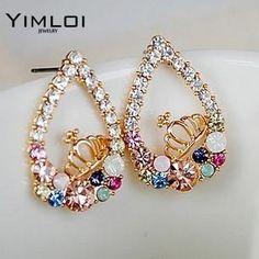 c387f4cae95 Trendy Women Colorful Crystal Water Droplets Crown Earring