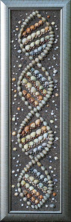Sea Shells Sea snail Mixed media Art Mosaic Wall by PebbleShellArt