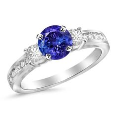 Houston Diamond District 1.1 Carat 3 Stone Channel Set Diamond Engagement Ring 14K Gold with a 0.5 Carat Round Cut AAA Quality Tanzanite (Heirloom Quality)