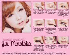 Decorative Feminine Haze Makeup tutorial starring Yui Minataka from the February 2013 issue of Kera.
