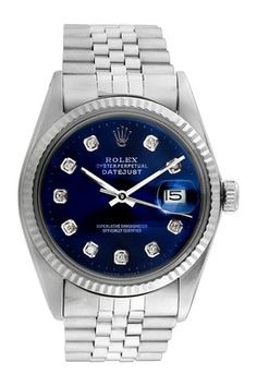 Vintage Rolex Men's 36mm Stainless Steel Diamond Datejust Watch
