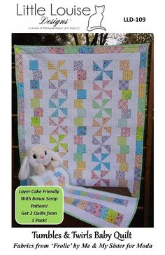 Baby Quilt Pattern Tumbles & Twirls Size 40 x Layer Cake Quilt Patterns, Layer Cake Quilts, Baby Quilt Patterns, Modern Quilt Patterns, Quilting Patterns, Hand Quilting, Quilting Ideas, Quilt Baby, Pow Wow
