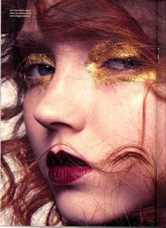 Lily Cole gold leaf makeup
