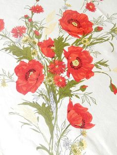 red poppies tablecloth vintage tablecloth vintage home by brixiana, $35.00