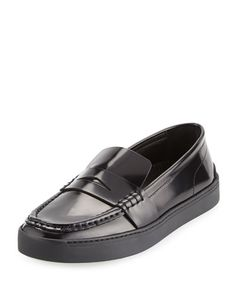 Colby Leather Loafer-Style Sneaker, Black