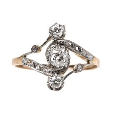 Authentic Edwardian Era Engagement Ring with Old Mine Cut Diamonds -Trumpet & Horn