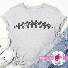 Game day Football football stitches SVG cut file for shirt for Cutting Machine Silhouette Cameo Cricut Commercial Use Digital Design - I Arted Shirt - Ideas of I Arted Shirt - Football Shirt Designs, Football Mom Shirts, Cheer Shirts, Vinyl Shirts, Football Football, Football Sayings, Football Sister, Sports Sayings, Cheer Uniforms