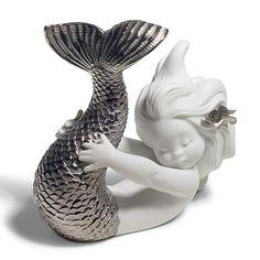 Lladro(リヤドロ)「Silver Re-Deco(シルバー リ・デコ)PLAYING AT THE SEA(可愛いマーメイド)」[610A08545]