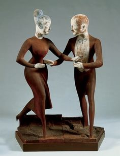 Elie Nadelman, Tango, c. 1919. Painted cherry wood and gesso, three units