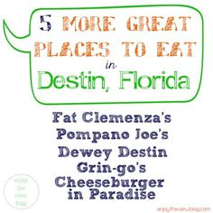 5 More Great Places to Eat in Destin, Florida! We love trying new places to eat when we're on vacation - but we also have some tried and true favorites! #vacation #restaurants #destinrestaurants #destinflorida #destindining #beachrestaurants #enjoytheviewblog