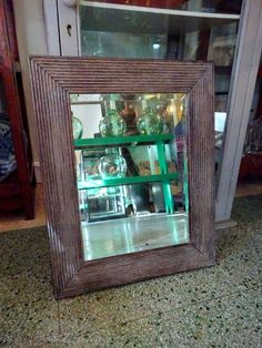 Antique Rustic Ribbed Oak frame mirror Foxed Glass Bathroom Cloakroom #Mirrors