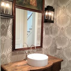 like this wallpaper Boxwood Interiors, Houston wallpaper lotus by Lotus Wallpaper, Wallpaper Stencil, Home Interior Design, Interior Decorating, Rustic Powder Room, Bathroom Tile Designs, Bathroom Ideas, Powder Room Wallpaper, Classic Bathroom