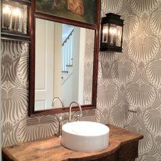 like this wallpaper Boxwood Interiors, Houston wallpaper lotus by Lotus Wallpaper, Wallpaper Stencil, Rustic Powder Room, Home Interior Design, Interior Decorating, Bathroom Tile Designs, Bathroom Ideas, Classic Bathroom, Georgian Homes