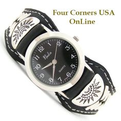 Four Corners USA Online - Men's Sterling Leather Watch Strap Native American Indian Navajo Jewelry NAW-1414BF, $125.00 (http://stores.fourcornersusaonline.com/mens-sterling-leather-watch-strap-native-american-indian-navajo-jewelry-naw-1414bf/)
