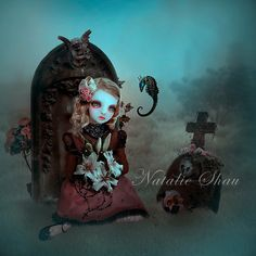 little girl, grave, tombstone, angel, pink flowers, skull, sea horse, Natalie Shau