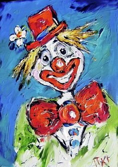 Happy Clown acrylic on canvas board by Mary Cahalan Lee