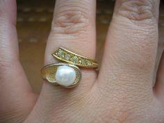 Vintage filigree art deco style gold tone metal ring by badgestuff, $5.00