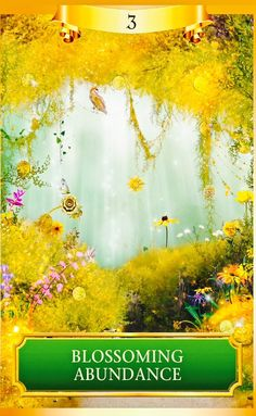 """""""This card shows a beautiful golden garden in the springtime with coins and new flowers blossoming all around. They even hang like fruit on the tree above. Upright, this card signals a new increase in wealth, possibly in a dramatic and unexpected way. Angel Guidance, Spiritual Guidance, Spiritual Messages, Chakra Healing, Image Couple, Golden Garden, Oracle Tarot, Angel Cards, Card Reading"""