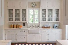 Mediterranean Revival - Kitchen - Traditional - Kitchen - Miami - by Andrena Felger / In House Design Co. Cocina Home Depot, Cuisine Home Depot, Home Depot Kitchen Remodel, Kitchen Cabinet Remodel, Glass Kitchen Cabinet Doors, New Kitchen Cabinets, Kitchen Backsplash, Glass Cabinets, White Cabinets