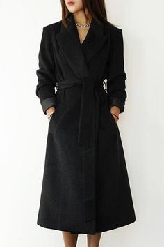 Vintage Lapel Extra Long Solid Color Wool Coat For Women