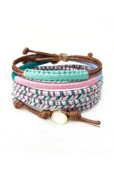 Bohemian Bracelet Stack By Weavetyco Layered Bracelets Braided Colorful Macrame