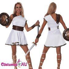 Ladies Greek Gladiator Warrior Goddess Adult Roman toga Costume Halloween Dress