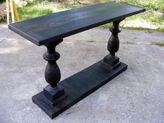 Entry table--with old table legs and reclaimed wood