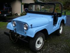 1964-cj5-forks-wa1 Vintage Jeep, Vintage Cars, Cj Jeep, Jeep Willys, Mens Newsboy Hat, Blue Jeep, News Boy Hat, Dream Garage, Forks
