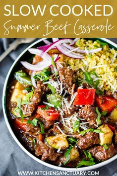 Slow Cooked Summer Beef Casserole. Fall-apart meat with crunchy veg and parmesan. Serve it with couscous for an even lighter feel. #slowcooked #slowcooker #summerrecipe #beef #casserole