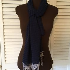 Great Vintage Navy Blue scarf  Gorgeous fringe on one end.  3rd photo shows a weird color but it is Navy.  Can't read the label but sure it is vintage. Unknown Accessories Scarves & Wraps
