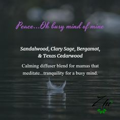 Calming diffuser blend for mamas that meditate...tranquility for a busy mind. #quietpeace #selfcare #meditationblend #essentialoil #sandalwood #bergamot #clarysage #cedarwood
