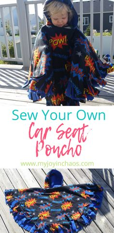 Keep your kids safe and warm in their car seats by sewing your own car seat ponchos! Sie für Kinder Poncho Sew Your Own Car Seat Poncho Toddler Poncho, Kids Poncho, Crochet For Kids, Sewing For Kids, Sewing Men, Fleece Poncho, Hooded Poncho, Poncho Sweater, Car Seat Poncho