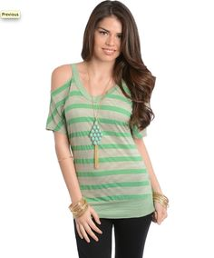 $24 cute new spring shirt!! This trendy soft knit short sleeve top features a V-neckline with striped design and cutout shoulders. Banded hem detailing.
