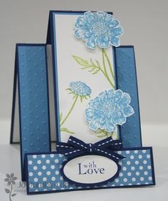 lovely handmade card in blues ... double side step card ... facy cutting & folding ... great to stand and display ...