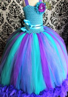 Purple Feather trimmed Dress/Peacock Dress/Peacock Flower Girl/Flower Girl Dress/Baby Girl Dress/Girls' Dresses/Turquoise Ballgown/Tutus