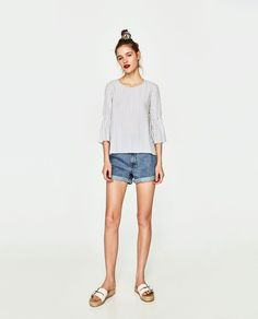 ZARA - TRF - STRIPED TOP WITH RUFFLED SLEEVES