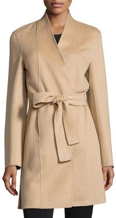 Neiman Marcus Cashmere Collection Double-Face Woven Cashmere Coat, Camel